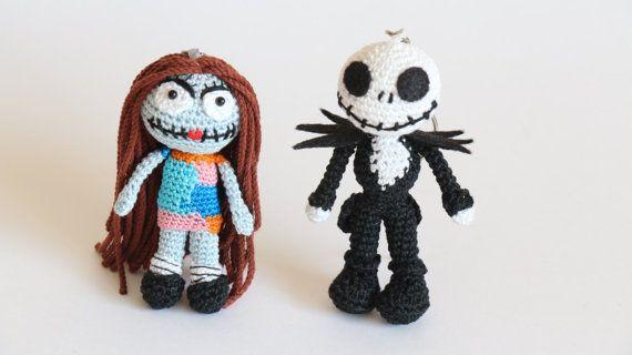 Jack Skellington & Sally Amigurumi Crochet Keychains Nightmare Before Christmas Halloween