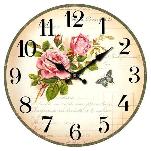 Nástěnné hodiny s červenými růžemi