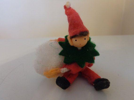 Vintage Red & Green Felt Christmas Elf Ornament by TessesAttic