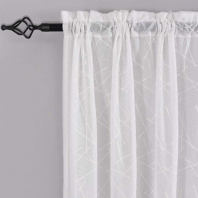 White Sheer Curtains 45 Inch Length