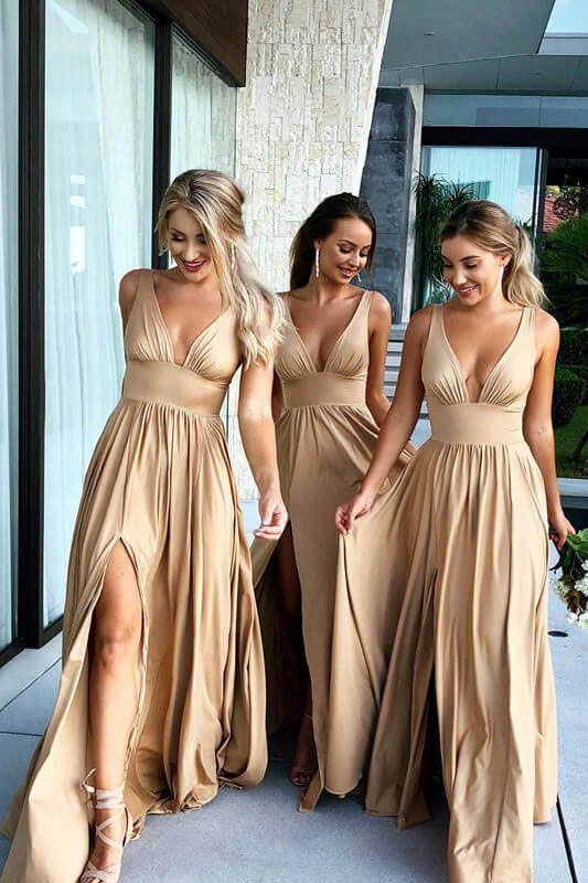 2f58239e75 Elegant A-line V Neck Gold Long Bridesmaid Dress with Side Slit Colorful Bridesmaid  Dresses