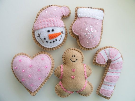 Pretty in Pink Felt Holiday Cookie Ornaments - awesome for a little girl baby's first Christmas with the year embroidered on the back!