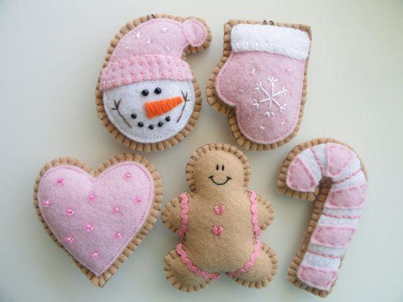 Bastante en vacaciones fieltro Rosa adornos - Cookie Rosa adornos - Navidad fieltro ornamentos