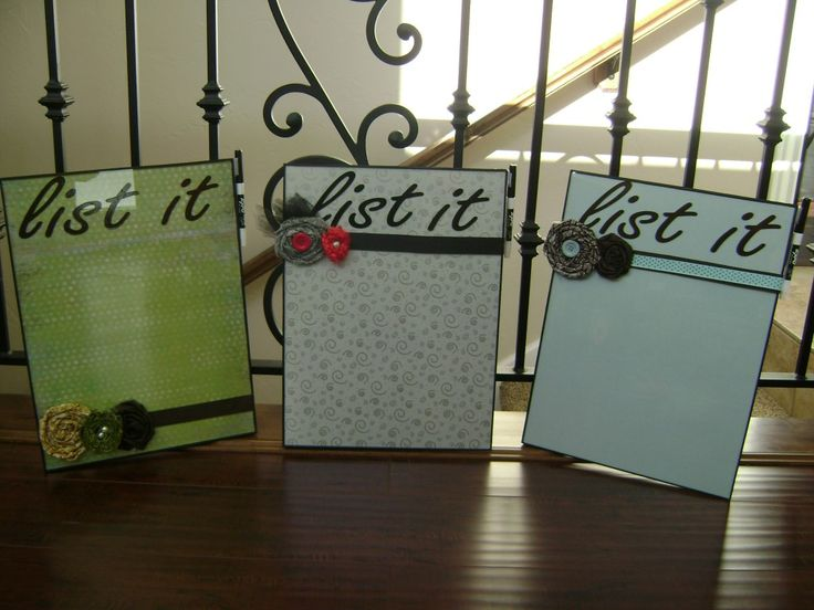 Dry Erase Board....cheap frame, place pretty card stock behind glass, adorn with flowers, ribbon, etc & add vinyl lettering with List It or whatever you want it to say!