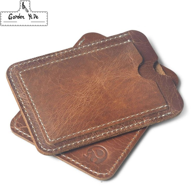 Crazy Horse Cowhide Leather Credit Card Holder Genuine Leather ID Card Holders Men Business ID Wallet Slim Wallet for boyfriend -- View the item in details by clicking the image