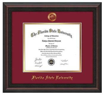 florida state university diploma frame this mahogany braid diploma frame features a gold leaf embossed - Diploma Frame Size
