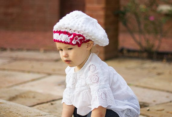 Baby beret Baby Girl Knit Hat Baby Baptism Hat by HandmadeTrend