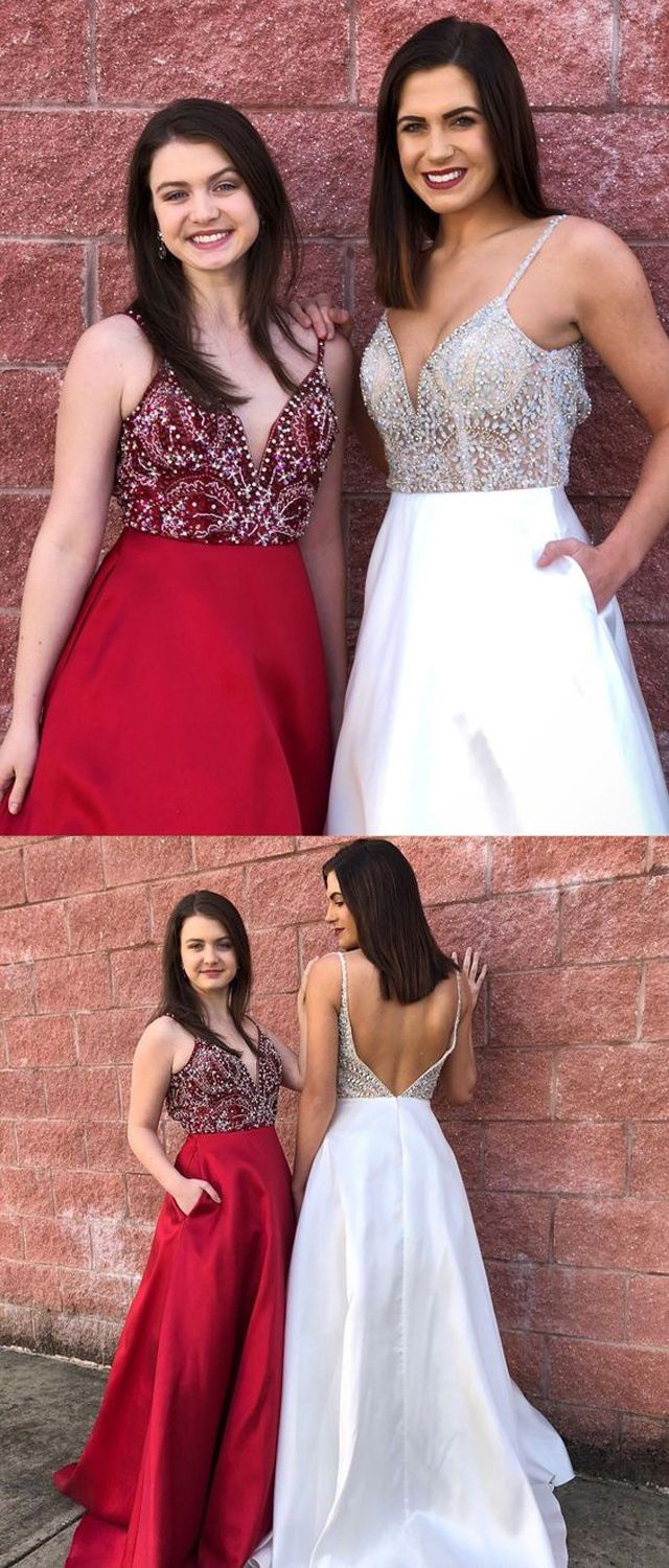 Gorgeous v neck open back red beading long prom dresses with pockets