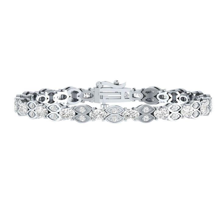 "4.60 Ct Oval Cut White Sapphire Sterling Silver 7"" Link Tennis Bracelet Jewelry #braceletrealgold #Tennis"