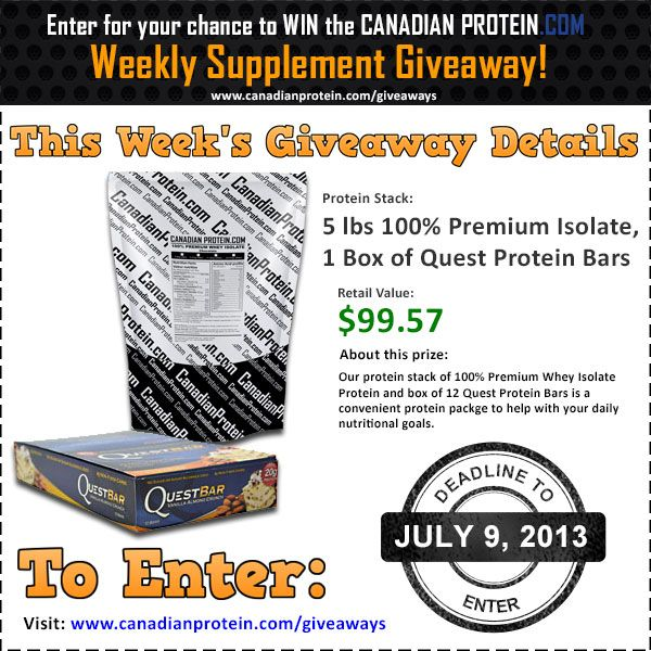 July 9, 2013 Supplement Giveaway: Protein Stack including 5 lbs of 100% Premium Whey Isolate Protein Powder and 1 box of Quest Bars!