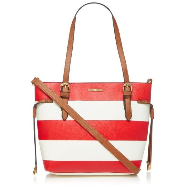 The Collection Red wide striped grab bag ❤ liked on Polyvore featuring bags, handbags, white handbags, top handle purse, top handle bags, hardware bag and nautical bag