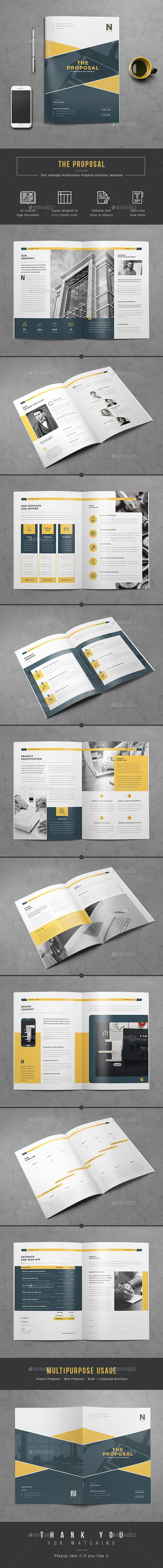 20 Pages Professional Business Proposal Template InDesign INDD. Download here: http://graphicriver.net/item/proposal/15695113?ref=ksioks
