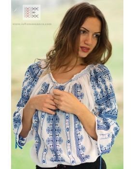 Handmade - hand embroidered Romanian peasant blouse - traditional ie