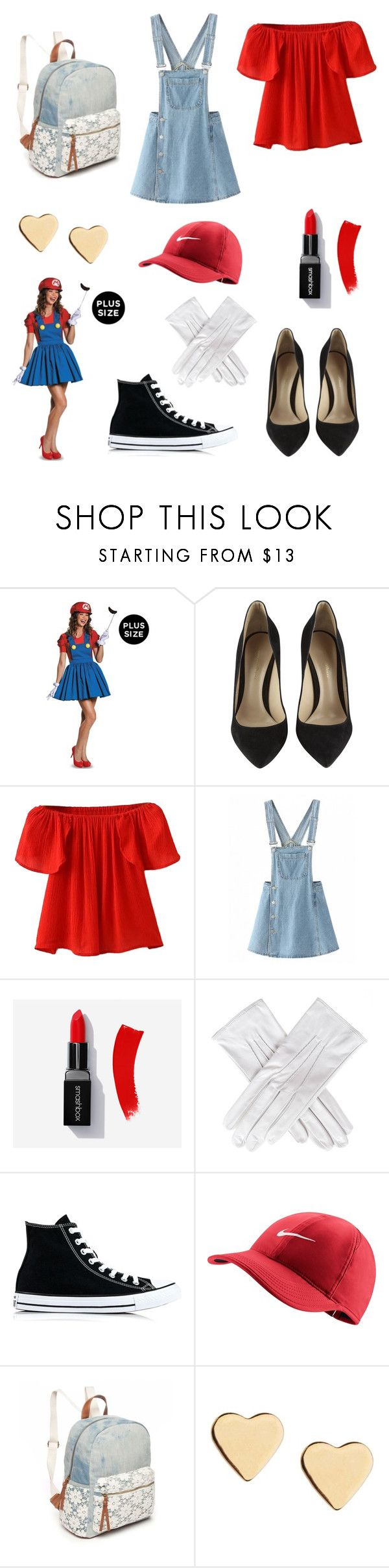 """""""girl mario halloween costume"""" by livvylou04 ❤ liked on Polyvore featuring Gianvito Rossi, WithChic, Black, Converse, NIKE, Red Camel, Lipsy, halloweencostume and DIYHalloween"""