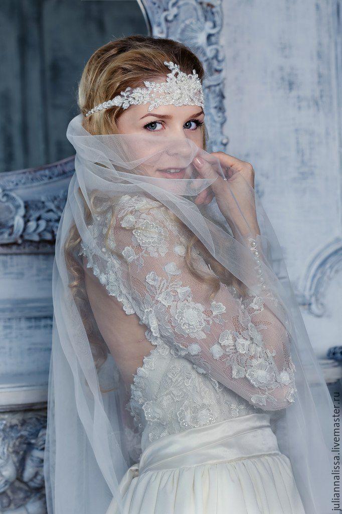 Свадебное платье - белый, айвори, открытая спина, рукава, кружево, молочное кружево, манжеты