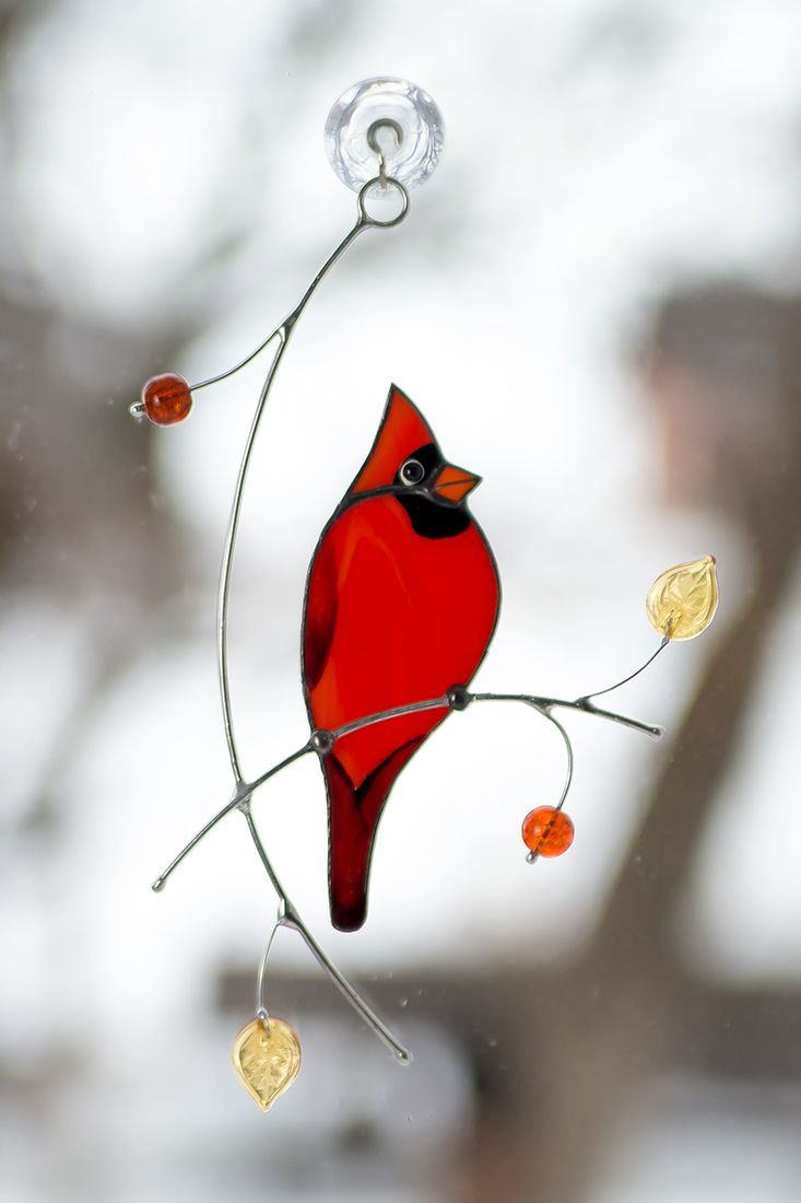10 round Stained Glass Cardinal Suncatcher