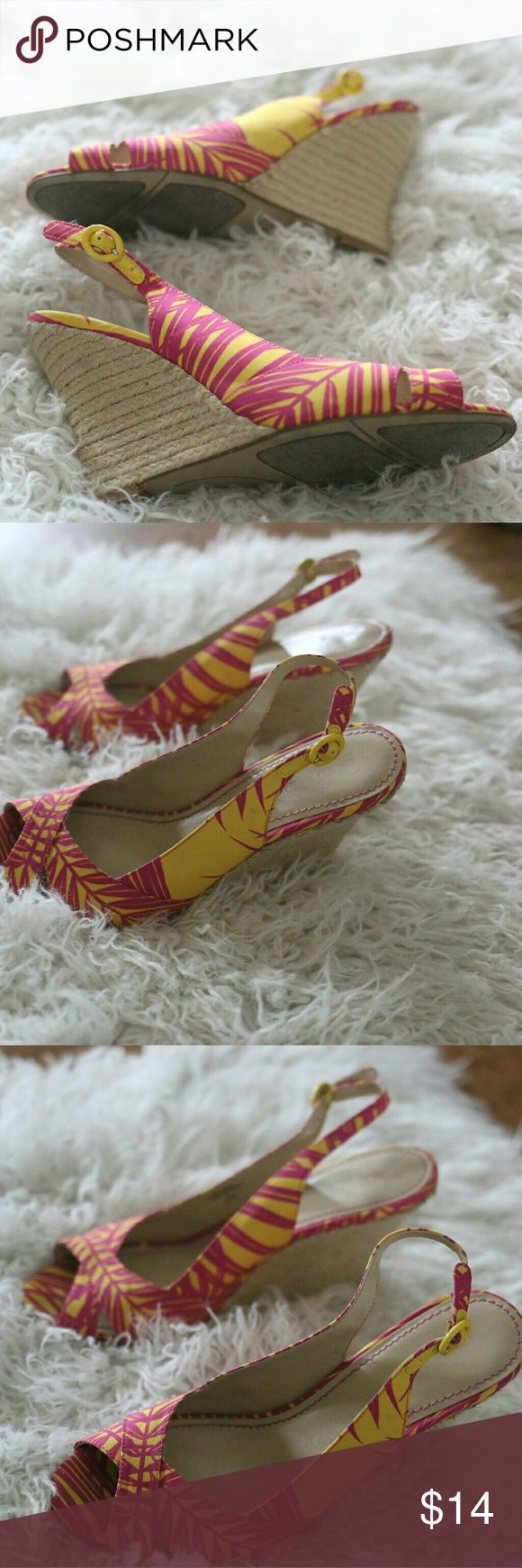 Nine West Floral Espadrille Wedge Heel Sandal 8.5 Nine West Floral Espadrille Sandals.  Size 8.5.  Fun floral pattern in pink and yellow.  Ankle strap with buckle.  Woven straw heel.  Some wear to way bottom of heel.  No trades, offers welcome. Nine West Shoes Espadrilles