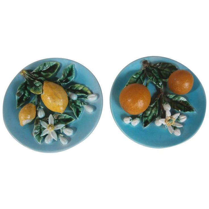 Pair of 19th Majolica Lemons and Oranges Plates, Perret Gentil Menton   From a unique collection of antique and modern decorative art at https://www.1stdibs.com/furniture/wall-decorations/decorative-art/