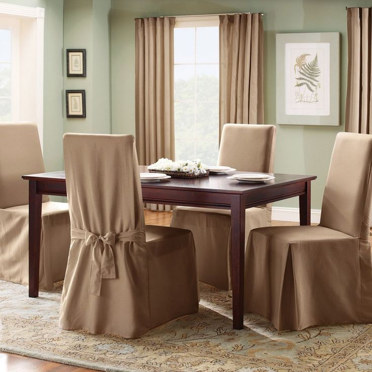 Furniture Awesome Romantic Chocolate Fabric Dining Chairs Cover Above Gorgeous Creame Carpet With Modest Wooden Table As Well Light Green