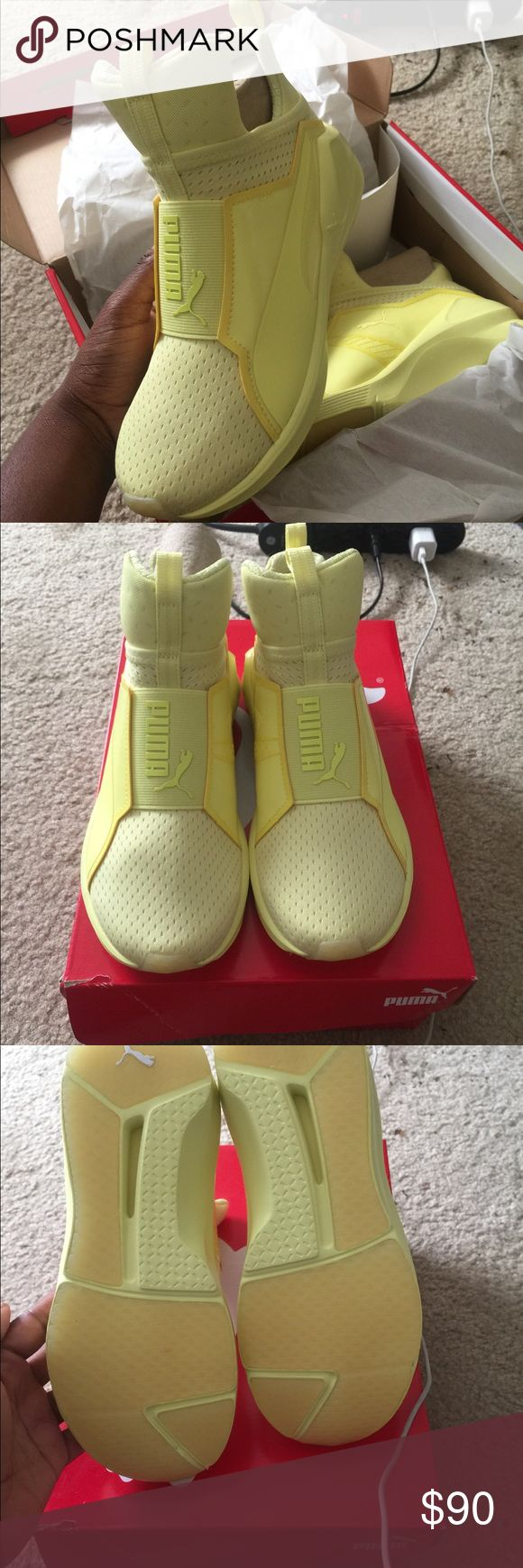 Rihanna puma runners Spring collection of Rihanna puma runners  - never worn had since march  - birthday present but I can't fit them at all - size 5.5 in ladies I wear a 5.5 in kids  RETAIL $120 Rihanna Shoes Athletic Shoes