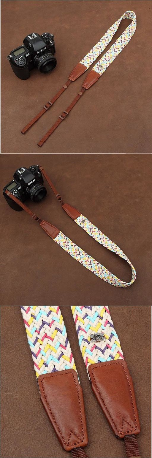 Weaving Style DSLR White Sony Nikon Canon Handmade Leather Camera Strap 8784 by i-cam