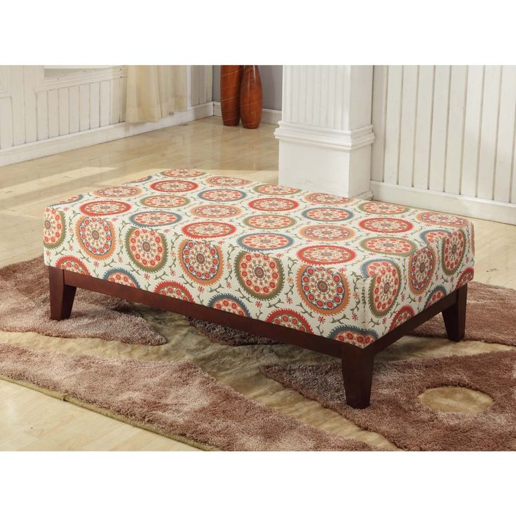 this beautiful cocktail bench features a multi colored suzani fabric boasting a cream background. Black Bedroom Furniture Sets. Home Design Ideas