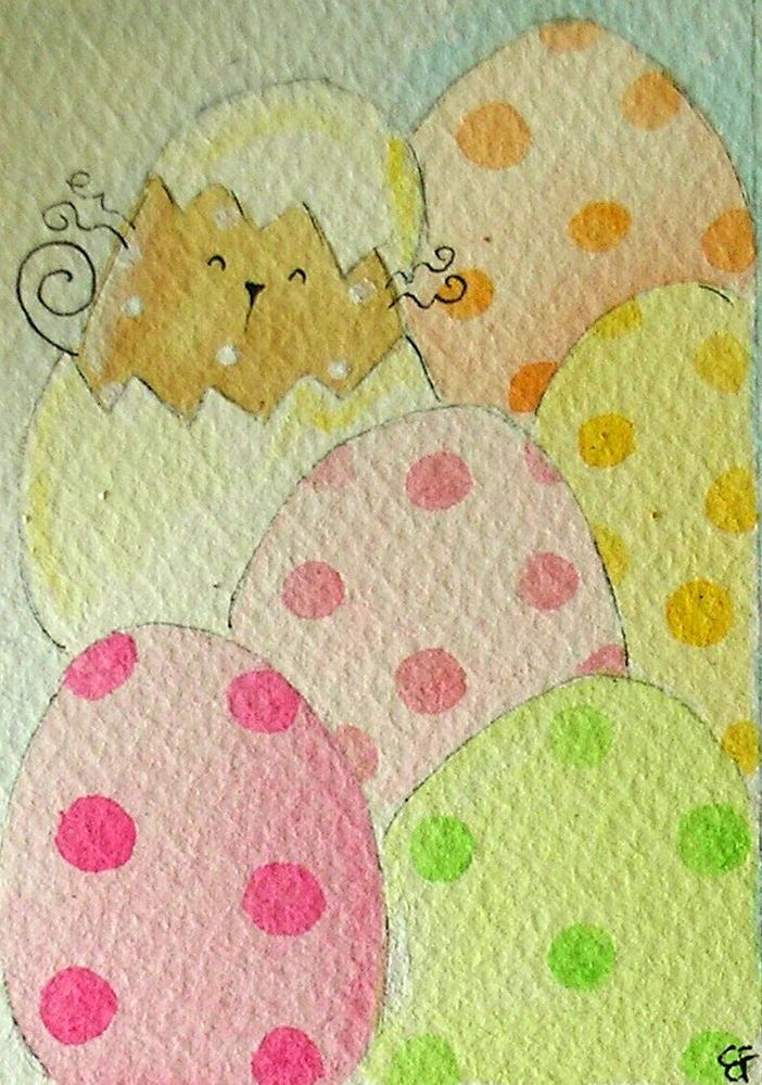 SALE!!! original watercolor ACEO- happy cat easter eggs pastel colors-