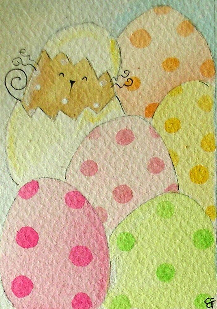 SALE!!! original watercolor ACEO- happy cat easter eggs pastel colors-