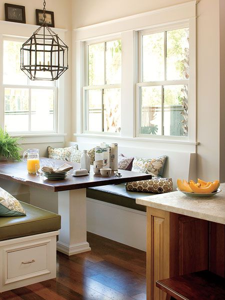 love the pendant and the windows in this nook