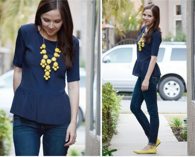 Merricks Art: Peplum Top. This girl sewed a great restyle of an oversized top. I really just like the styling here though--such great flats she has on! And I love how it ties in to the bubble necklace.