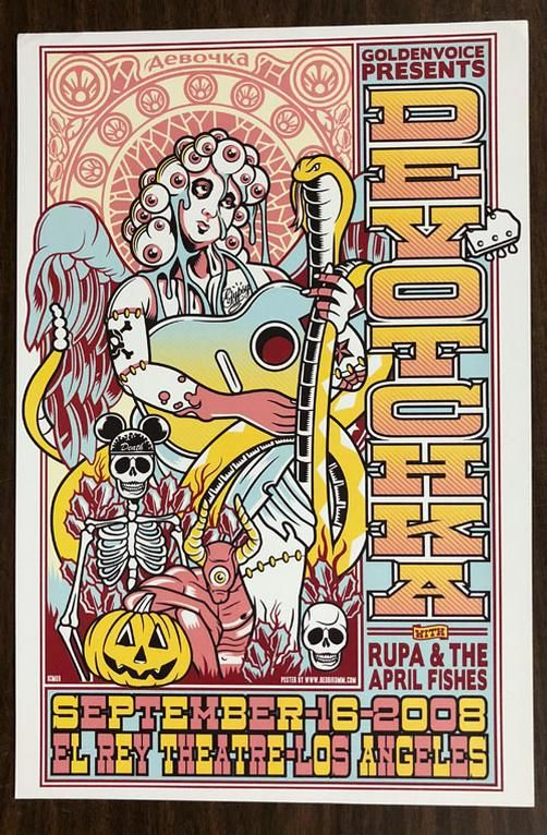 original concert poster for devotchka at the el rey theatre in los