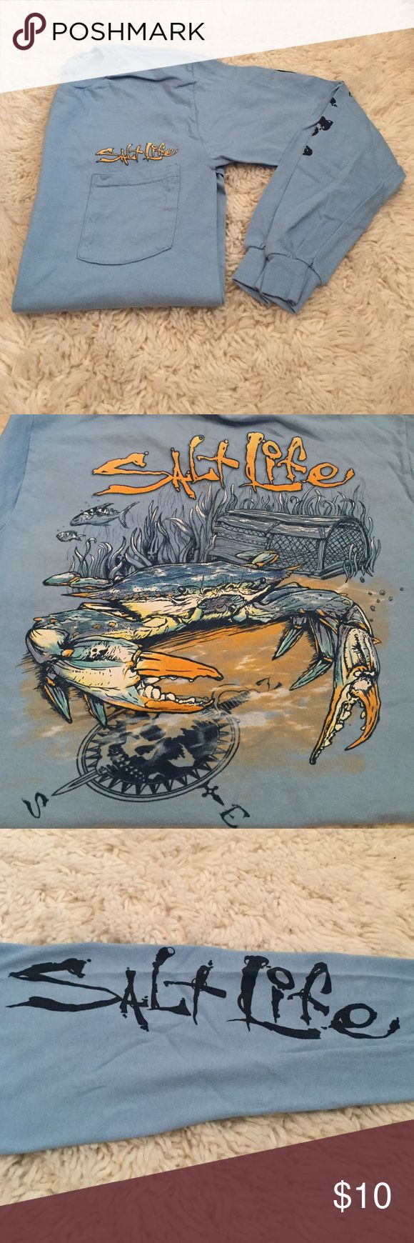 Long sleeve Salt Life T-Shirt Light blue; never worn. Great for a throw on and go outfit! Salt life is written on the right sleeve. 100% cotton. Salt Life Shirts Tees - Long Sleeve