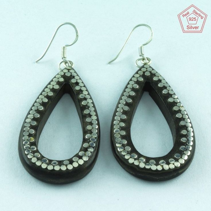 Beautiful Real Solid 925 Sterling Dotted Wooden Earrings E3624 #SilvexImagesIndiaPvtLtd #DropDangle