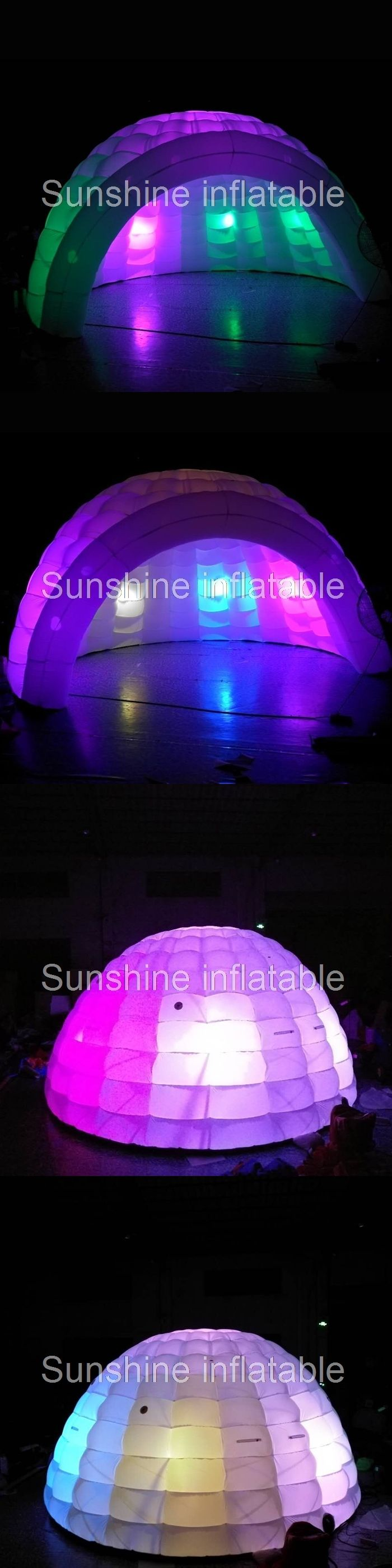 5m white inflatable igloo tent with led light inflatable luna dome tent for party event