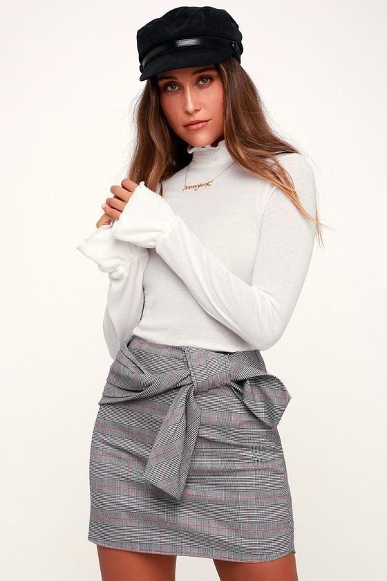 7c8059517b #EnvyWe #Lulus - #Lulus Houghton Grey Plaid Belted Mini Skirt - Lulus -  EnvyWe.com
