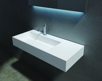 cross tone solid surface opbouwwastafel b90xd48xh13cm rechthoek met waste wit mat cts2015 - Corian Countertops Bauernhaus Waschbecken