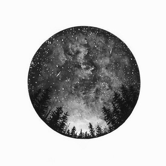 galaxy space night sky through a telescopic lens surrounded by pine trees, gorgeous and detailed tattoo design, pin: morganxwinter