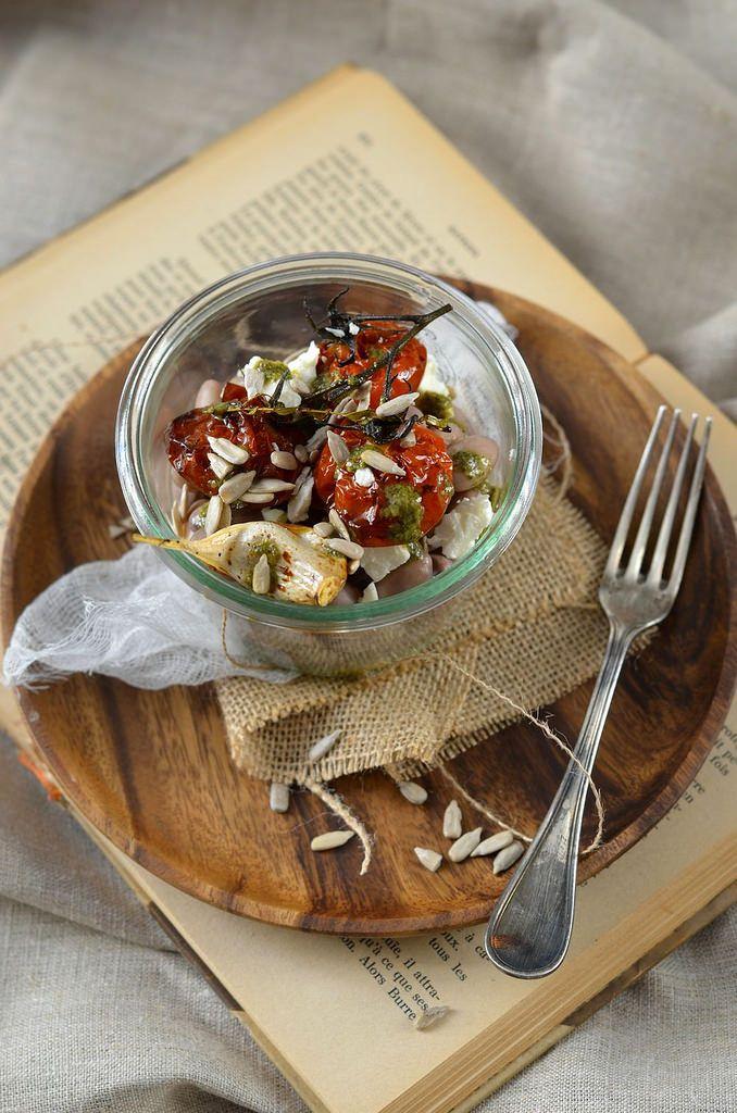 Borlotti Bean Salad, roasted tomato and pesto -