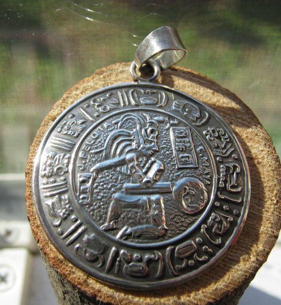 Southwestern Vintage Men's Medallion Pendant Mexico Handcrafted Sterling Silver…