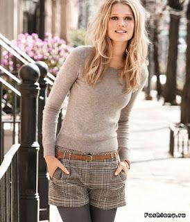 Crew neck sweater and plaid wool shorts