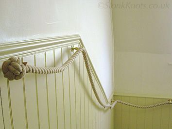 stair rope with brass fittings in situ - StairRopes.com (picture StonkKnots.co.uk)