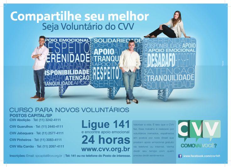 Olá pessoal, veja a seguir a chamada do CVV para participar de curso de formação de voluntários: A Unidade do CVV de Guarulhos, realiza gratuitamente o serviço de Apoio Emocional e Valorização da V...