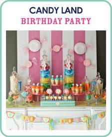 Tons of cute party ideasBirthday Parties, Candyland Birthday, Candyland Parties, Candies Land Parties, Parties Ideas, Desserts Tables, Candy Land, Birthday Ideas, Ice Cream Cones