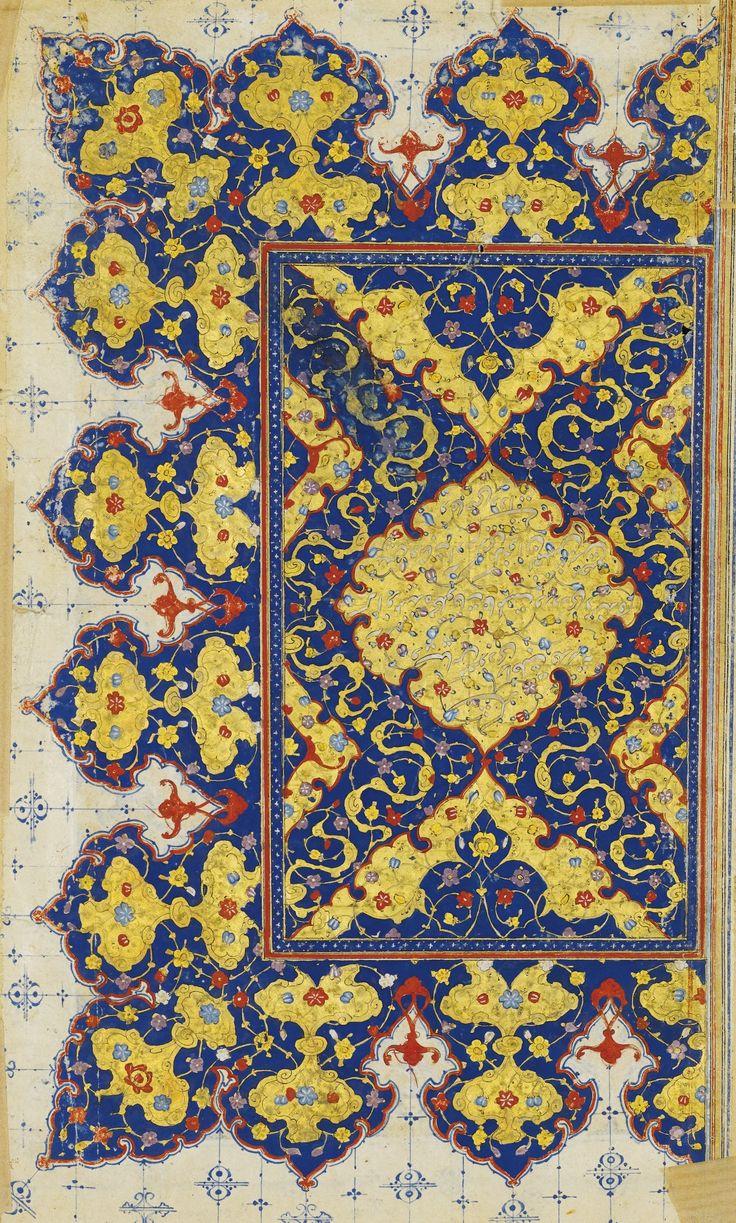 AN ILLUMINATED FRONTISPIECE LEAF, INK AND GOLD ON PAPER, SAFAVID PERSIA, 16TH CENTURY encre, gouache et or sur papier, texte écrit en persan, en nasta'liq, présente, au recto, une mandorle polylobée entourée de dômes, bordée par une frise de fleurons, sur un fond de nuages tchi et de rinceaux, et au verso, une table de matière inscrite dans deux colonnes 23 x 13,5 cm ; 9 x 5 1/4 in Sotheby's