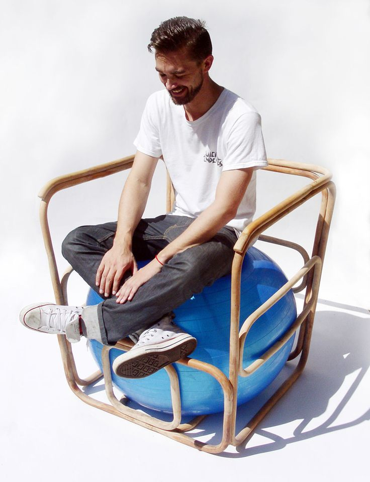 not quite my ergochair design idea is to use a large rattan basket or a rattan papasan base to form a round nest for an exercise ball and then to cover