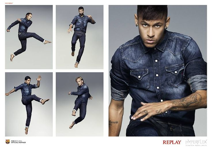 FC Barcelona Players Andres Iniesta Gerard Piqué Ivan Rakitić Luis Suarez in Replay new #Hyperflex #Denim.   #stretch denim with 100% elasticity! #StretchYourLimits #Omberon