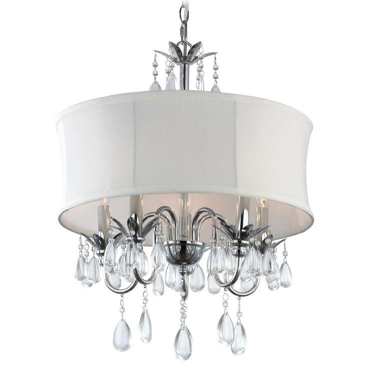 White Drum Shade Crystal Chandelier Pendant Light Ceiling