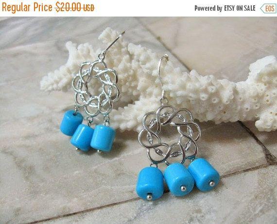 Your BEST GIFT Scuba Blue Chandelier earrings Turquoise howlite wreath dangles contemporary jewelry Sky Blue dangles silver earrings filigre