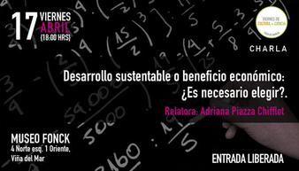 """Hoy viernes, charla """"Desarrollo sustentable o beneficio económico"""" en Viernes de Cultura + Ciencia.  http://www.explora.cl/lista-eventos-nacional/1208-charla-desarrollo-sustentable-o-beneficio-economico-en-viernes-de-cultura-ciencia"""