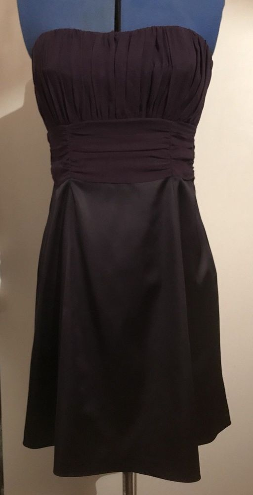 Only £9.99!! Gorgeous Coast Silk Dress Size 12 Purple Body and Black Skirt
